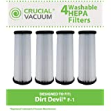 4 Highly Durable Washable & Reusable Dirt Devil Style F1 HEPA Filters; Compare to Dirt Devil Part Nos. 3JC0280000, 1863118000; Designed & Engineered by Think Crucial