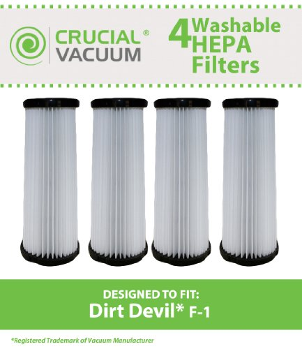4 Highly Durable Washable & Reusable Dirt Devil Style F1 HEPA Filters; Compare to Dirt Devil Part Nos. 3JC0280000, 1863118000; Designed & Engineered by Crucial Vacuum