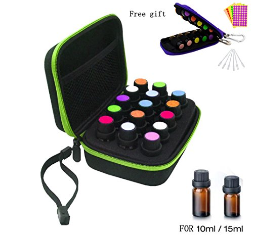 15 Bottles EVA Essential Oil Carrying Case, Hard Shell Exterior Foam Insert Essential Oil Storage Box, Perfect for doTerra, Young Living Oil with Handle strap, Key Chain Kit, Bottles, Labels, Green