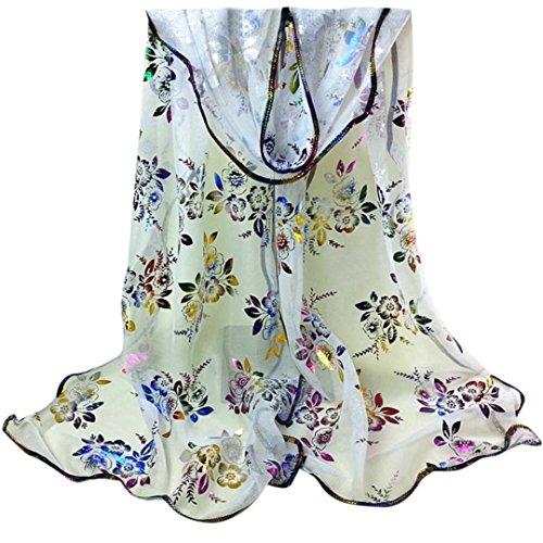 Datework Women Vintage Colorful Flower Lace Gauze Veil Wrap Scarf (Knitted Gauze)