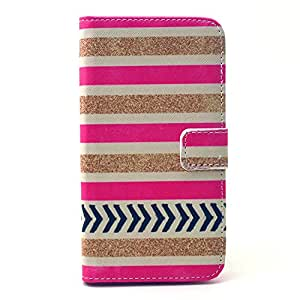 S6 Case,Galaxy S6 Leather Case,Galaxy S6 Wallet Case,YiLin [Stand Feature] Fashion [Powder Stripe Pattern]Soft TPU Wallet Cover [Wallet S][Built-in ID Card Slot] Premium PU Leather Wallet Case With Stand Flip Cover for Samsung Galaxy S6 + Wristband with Our Shop Logo