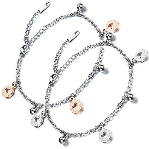 Flongo Women's Charm 2PCS Elegant Stainless Steel Hollowed Heart Lock Link Wrist Anklet Chain Bracelet, 7.3 inch
