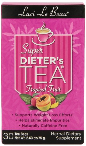 Box Super Dieters Tea - Laci Le Beau Super Dieter's Tea, Tropical Fruit, 30 Count Box, 2.63 OZ (Pack of 4)