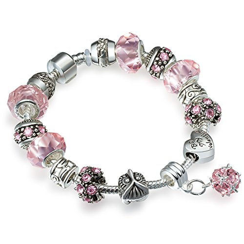 ATE Charm Bracelet Crystal and Murano Glass Beads for Women (Pink)