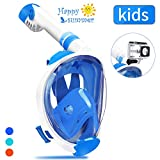 QingSong Full Face Snorkel Mask with Newest Breathing System, Give You A Natural & Safe Snorkeling Experience, Foldable 180 Degree Panoramic View Anti-Fog Anti-Leak Snorkel Set for Kids Youth Adult