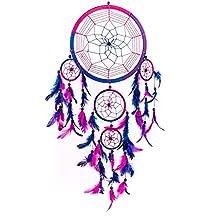 Dream Catcher ~ Handmade Traditional Royal Blue, Pink & Purple 22cm Diameter & 60cm's Long!
