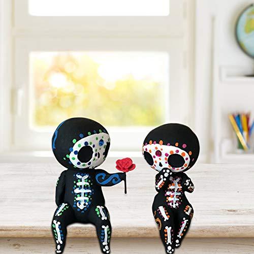 wSelio Unique Lovely Sugar Skull Couple Figurine, Skull Head Skeleton Figurine Statue Display, Crafts Resin Sugar Skull Couple Statue Cute Statue Skull Resin Flower Delivery (A)
