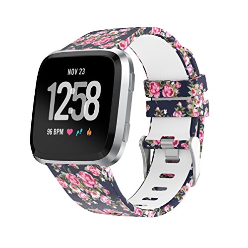 Amawell for Fitbit Versa Band,Silicone Adjustable Replacement Sport Strap Printed Bands with Classic Buckle for Fitbit Versa Fitness Smart Watch (Floral Pattern-3, Small)