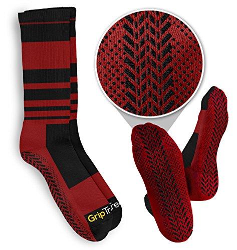 Best Non Slip Red/Black Athletic Treaded Socks for Martial Arts & Pilates ()
