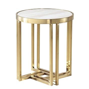 Amazon De Rky Sofa Beistelltisch Metall Runder Tisch Edelstahl
