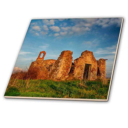 3dRose Danita Delimont - Tuscany - Italy, Val Di Orcia Tuscany, Old Church ruins with evening light - 12 Inch Ceramic Tile (ct_313763_4)