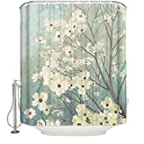 Nature Series Decorative Lush Flowers Waterproof Fabric Bathroom Shower Curtain with Hooks Extra Long 72 x 96 inches