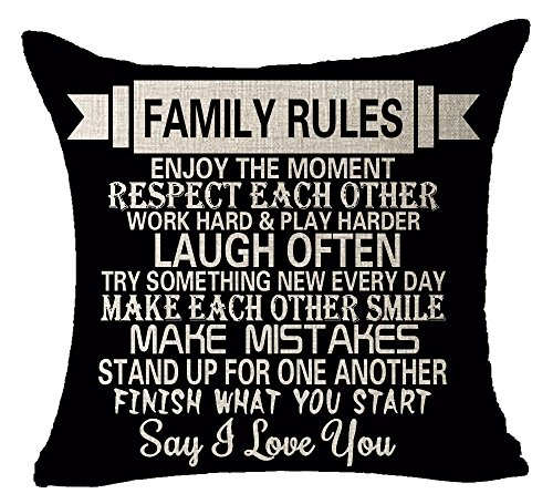 Queen's designer Funny Warm Sweet Sayings Family Rules Be Thankful Respect Each Other Always Say I Love You Cotton Linen Decorative Throw Pillow Case