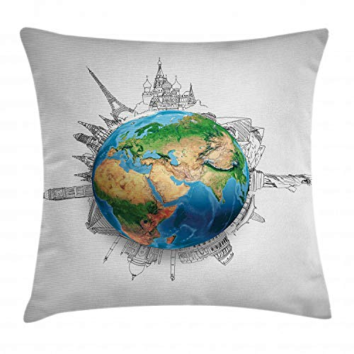 Earth Planet Brown - Ambesonne Earth Throw Pillow Cushion Cover, Globe of Planet Earth Realistic Continents Geography Theme Pencil Sketch, Decorative Square Accent Pillow Case, 18 X 18 Inches, Blue Green Light Brown