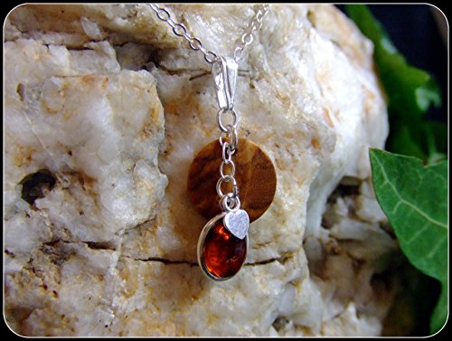 Olive wood Heart Amber oval gemstone Sterling Silver 925 bead Necklace 18