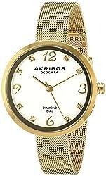 Akribos XXIV Women's AK875YG Yellow Gold-Tone Diamond-Accented Watch