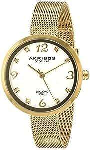 Akribos XXIV Women's Gold Dial Stainless Steel Band Watch - AK875YG