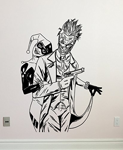Harley Quinn and Joker Wall Decal Superhero Vinyl Sticker Marvel Comics Wall Art Design Housewares Kids Room Bedroom Decor Removable Wall Mural 11zzz
