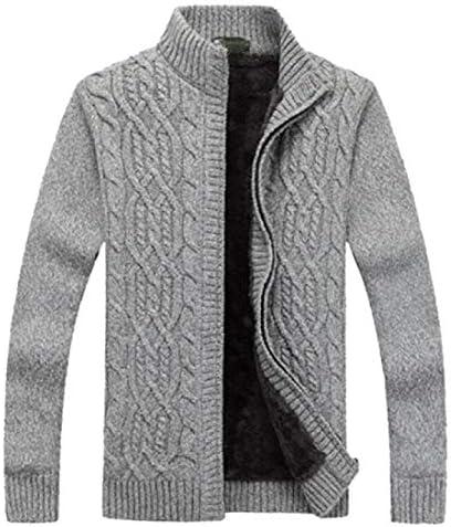 メンズ ウィンター シッケン モック ネック ケーブル ニット ジップ フリース ライニング カーディガン セーター
