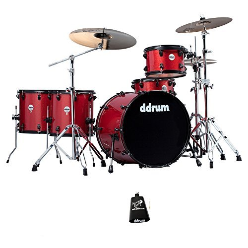 ddrum J2R 524-RSP Journeyman Rambler Red Sparkle 5-Piece Drum Set w/ddrum Hardware, ChromaCast Drumsticks, Drumstick Bag