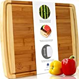 "Indigo True Cutting Boards for Kitchen – 1pc Extra Large Bamboo Wood Chopping Board 17.5""x13.5"" Wide & Thick Professional Wooden Butcher Block with Juice Groove for Meat, Serving Tray & Cheese Board"