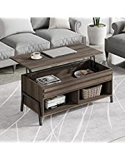 WAMPAT Wooden Mid-Century Lift Top Coffee Table, Rising Tabletop with Hidden Storage Compartment, Metal Frame Retro Central Table for Living Room, Brown