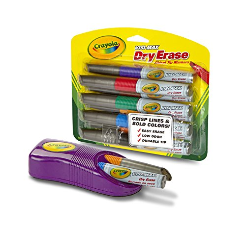 Set Dry Erase Marker (Crayola Dry Erase Markers & Magnetic Eraser Set, Classroom Supplies, 9 Count, Stocking Stuffer, Gift)
