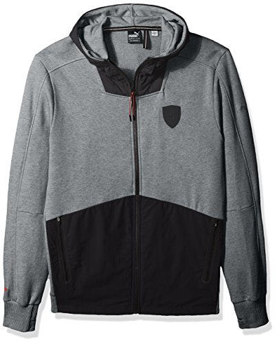 (PUMA Men's Ferrari Hooded Sweat Jacket, Grey, XXL)