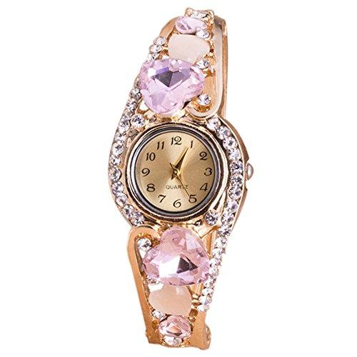 Women Wrist Watch - TOOGOO(R) Women Heart-shaped Round head Flowers Quartz Wrist Watch Pink (Shaped Watch Ladies Heart)