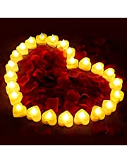 24 Pieces Flameless Candles with 1000 Pieces Artificial Rose Petal, Romantic Heart LED Love Tealight Candle with Battery-Powered for Romantic Night Valentine's Day Anniversary Wedding Table Decor
