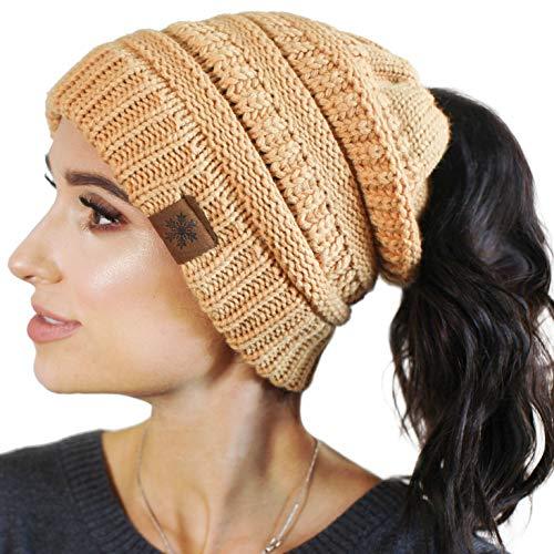 144afffb9d5 Lidor Womens Winter Beanie Solid Ribbed Hat Cap Ponytail Messy Bun Beanie ( Beige)