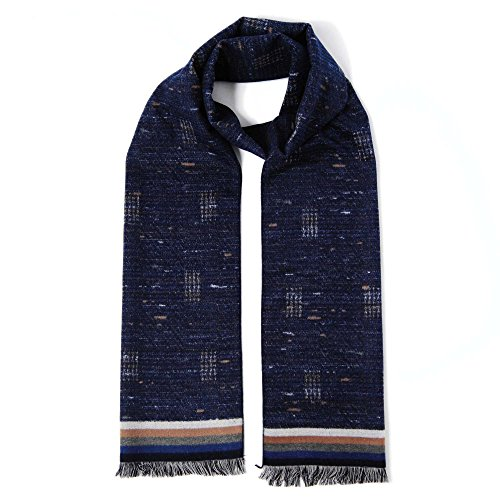 Cuddle Dreams Men's Classic Fall Winter Scarves, 100% Brushed Silk, Luxuriously Soft (Heather Navy Design)