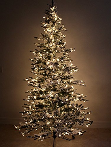 7'6'' Flocked Bavarian Pine, Artificial Prelit White Christmas Tree - Clear Lights Stay on if Bulb Burns Out! Natural Looking with Real-Like-Snow Color - Top Choice for Designers, Includes Storage Bag by Fine Expectations (Image #7)