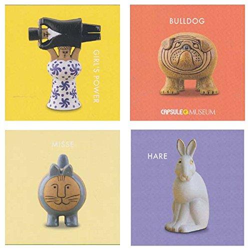 Capsule Q Lisa Larson miniature fabric vol.2 [assort 4 pieces (1.Girl's Power girl power /2.Bulldog Bulldog /3.Misse miss /4.Hare tsukino Usagi)]