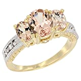 14K Yellow Gold Diamond Natural Morganite Oval 3-stone Ring, size 5.5