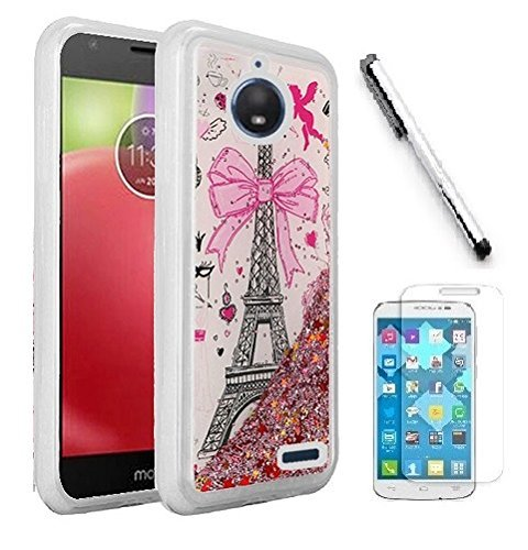 Luckiefind Case Compatible With Motorola Moto E4 PLUS XT1773, Hybrid Liquid Quicksand with Glitter Fused Hybrid Hard PC TPU Cover Case, Stylus Pen & Screen Protector (Paris Tower)