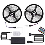 Upgraded Led Strip Lights, Targherle Led Light Strip DC12V 33Ft/10M 300leds Waterproof IP65 5050 SMD RGB LED Flexible Strip Light with 44key RF Remote Controller Double Sided Foam Tape and 5A Adapter