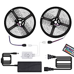 Targherle Led Strip Lights 33ft 10m 300leds Waterproof Ip65 5050 Smd Rgb Led Flexible Color Changing Strip Light With 44key Rf Remote Controller For Home Kitchen Indoor Decoration Dc12v 5a Adapter