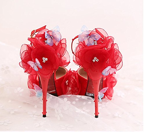 12Cm High Heeled VIVIOO Sandals Shoes Flower Wedding Butterfly With Shoes Prom Dress Fine Bride Heel Toast 8 Super Red Wedding Sandals The x0Hg0pfqw
