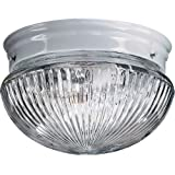 Quorum International Q3012-8 2 Light Flushmount Ceiling Fixture with Clear Ribbe, White