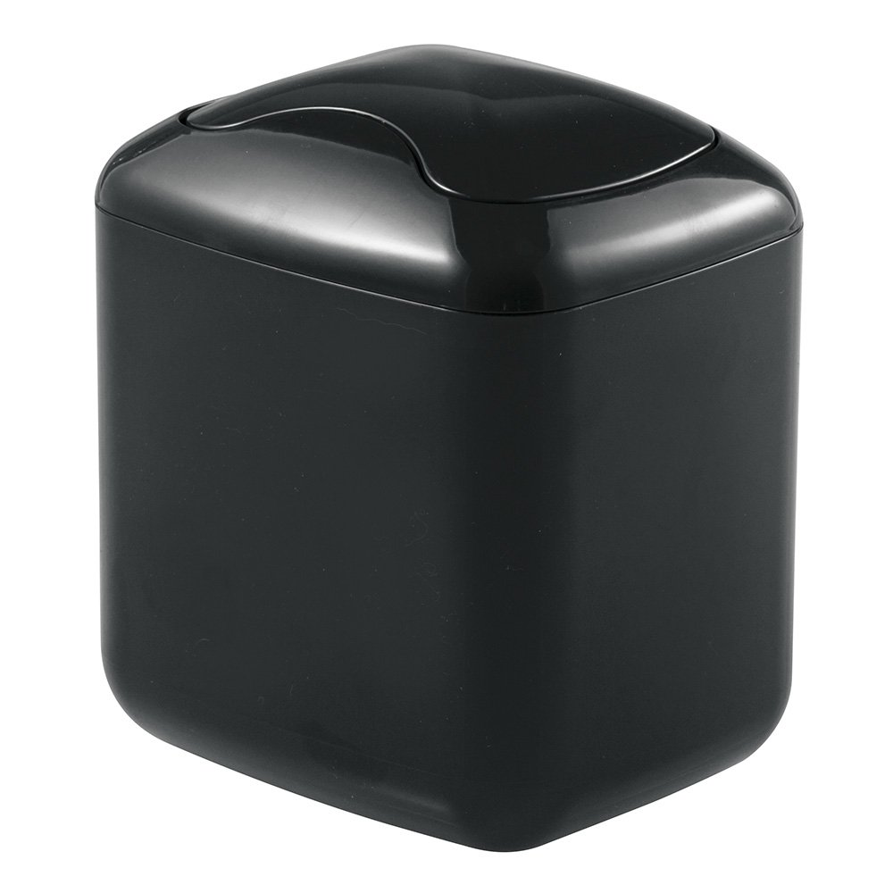mDesign Wastebasket Trash Can for Bathroom Vanity Countertops - Black