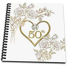 3dRose 50Th Golden Wedding Anniversary in Faux Gold Glitter Heart on White Drawing Book, 12 x 12""
