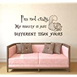 Alice in Wonderland Quote Wall Decal I'm Not Crazy Vinyl Sticker Decals Quotes Wall Decal Quote Decor Cheshire Cat Sayings Nursery Atr x66