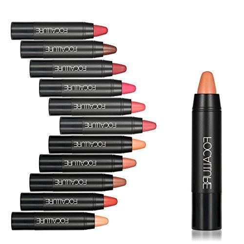 FOCALLURE 12PCS Matte Lipsticks Moisturizing Lip Sticks Rouge Crayon Waterproof Long-lasting 12 Colors