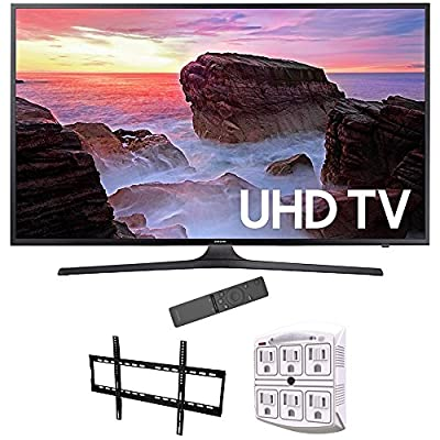 "Samsung 65"" 4K Ultra HD Smart LED TV 2017 Model (UN65MU6300FXZA) with Vivitar Low Profile Flat TV Wall Mount 50inch-80 inch & Stanley 6-Outlet Surge Adapter with Night Light"