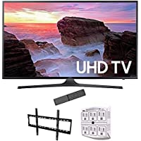 Samsung 65' 4K Ultra HD Smart LED TV 2017 Model (UN65MU6300FXZA) with Vivitar Low Profile Flat TV Wall Mount 50inch-80 inch & Stanley 6-Outlet Surge Adapter with Night Light
