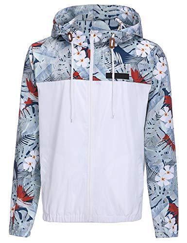 XL Cremallera Para Otoño MYLEDI Hombre White De Estampado Con Con Sport Colores Capucha Y Sport Sudadera Primavera WBqBUa