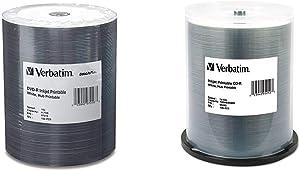 Verbatim DVD-R 4.7GB 16X DataLifePlus White Inkjet Printable Surface, Hub Printable - 100pk Tape Wrap & CD-R 700MB 52X White Inkjet Hub Printable Recordable Media Disc - 100pk Spindle