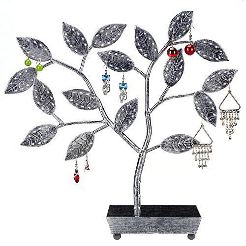 MyGift Tree Design Jewelry Hanger, Earring Necklace Holder with Ring Dish Tray, Silver by MyGift
