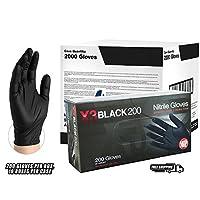AMMEX - BX3D44100-BX - Guantes de nitrilo - Desechables, Sin polvo, Sin látex, Seguridad de los alimentos, Guantes de nitrilo negros, medianos, gruesos, de 3 mil (Caja de 200)